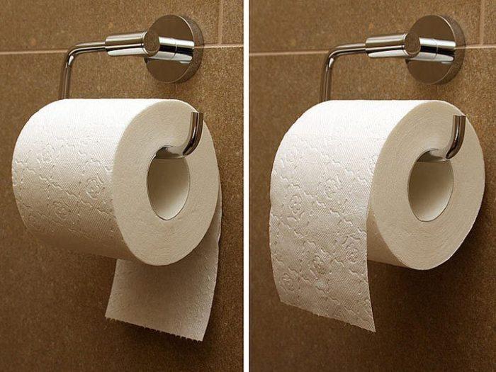 Правильный способ установки рулона туалетной бумаги на держатель