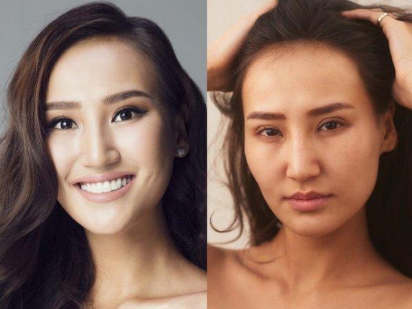 Участницы конкурса «Мисс Вселенная» с макияжем и без него
