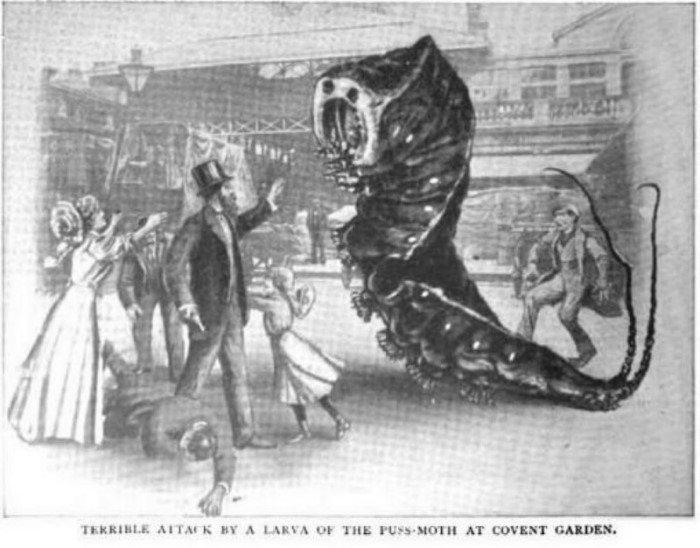 В 1909 году журнал Strand представил, что гигантские насекомые напали на город