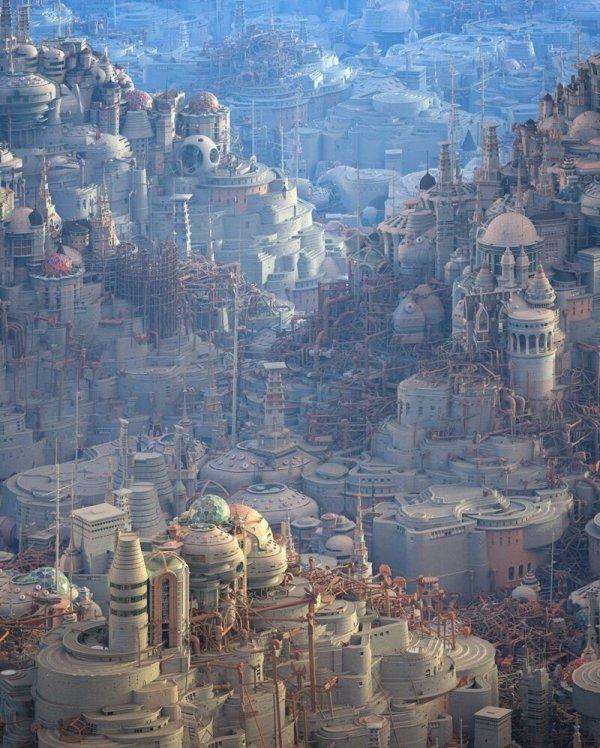 Фантастические города будущего от художника Мэтью Борретта