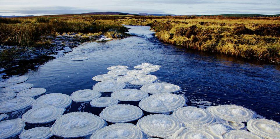 «Ледяные блины» на реке в Шотландском нагорье