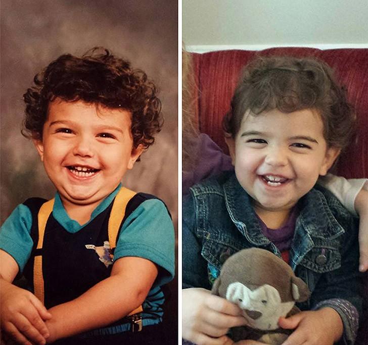 Похожие дети и родители на снимках в одинаковом возрасте