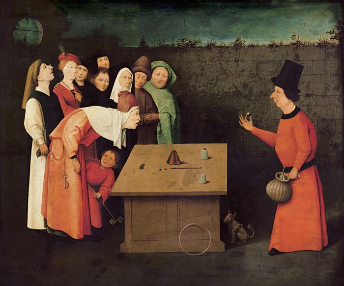 Человеческие пороки, скрытые в деталях картины Иеронима Босха «Фокусник»