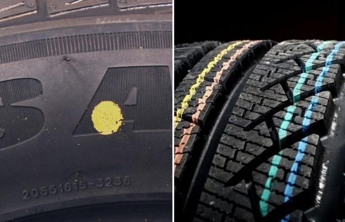 Что означают полоски и точки на автомобильных шинах