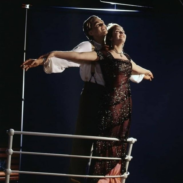 Кадры съемок фильма «Титаник» с Леонадро Ди Каприо и Кейт Уинслет