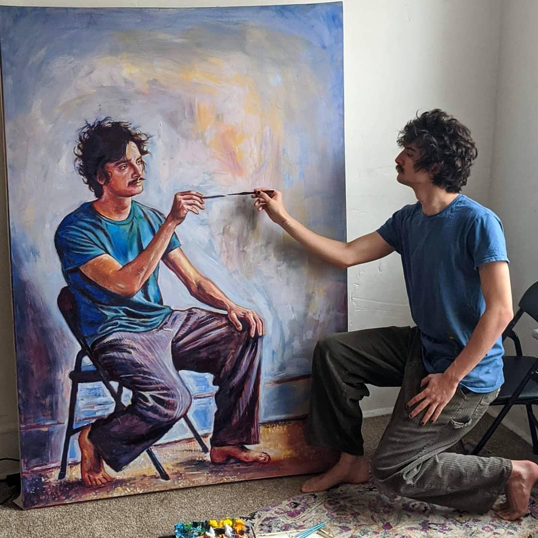 Художник создал серию рекурсивных автопортретов