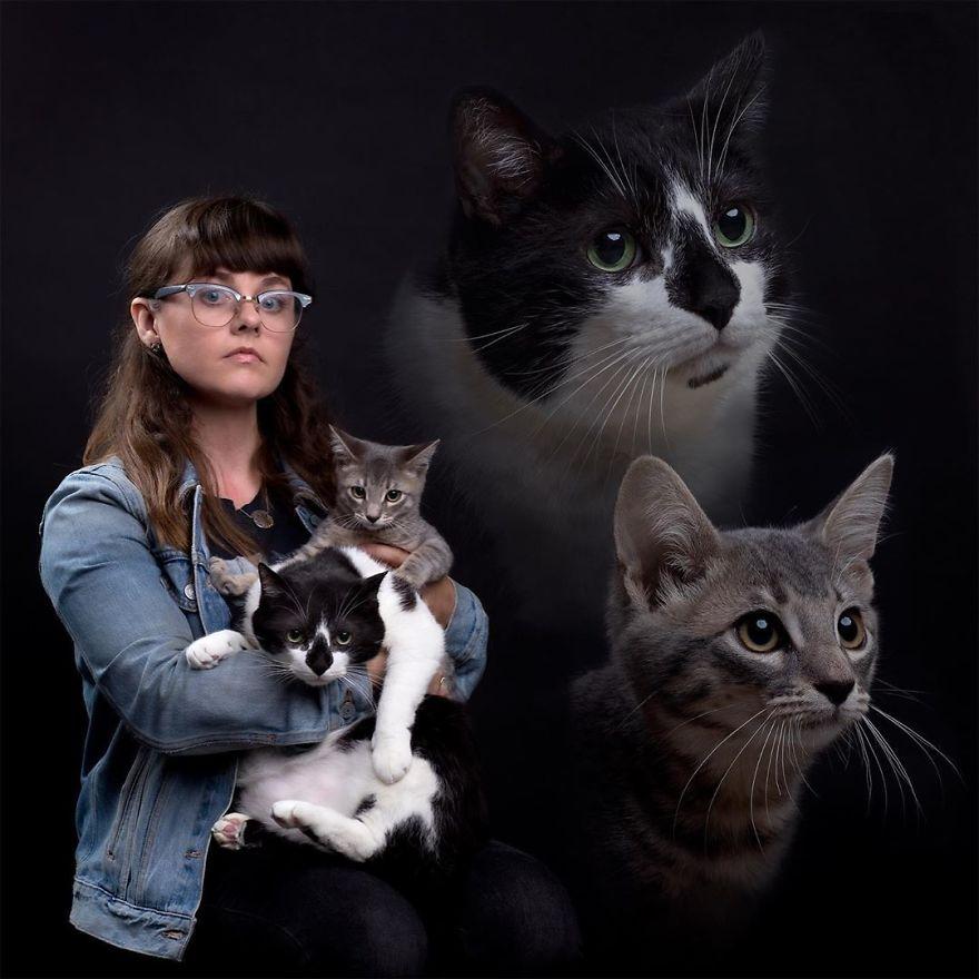 Намеренно неловкие семейные фотографии с животными