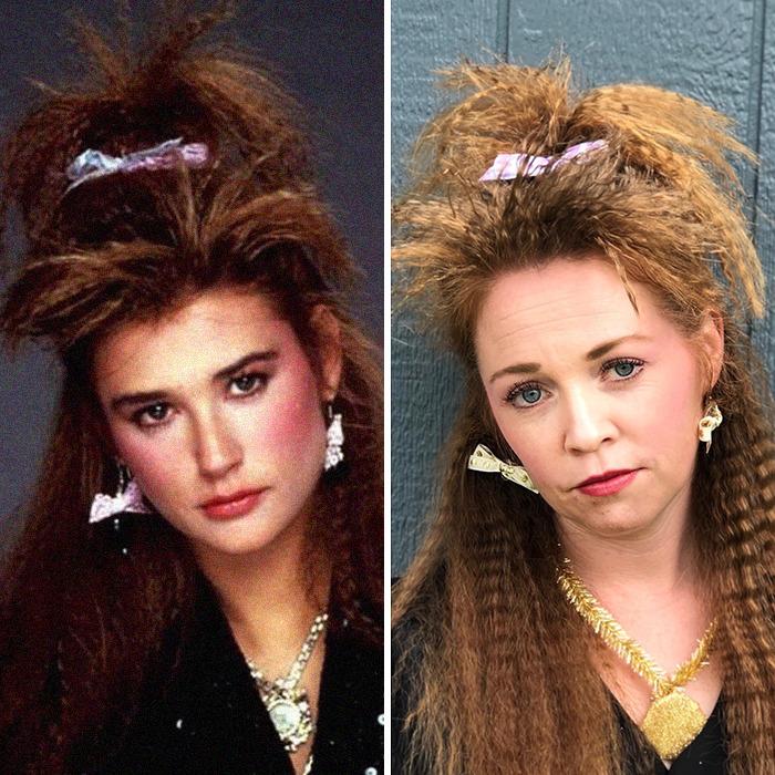 Женщина воссоздала абсурдные и нелепые причёски из 1980-х