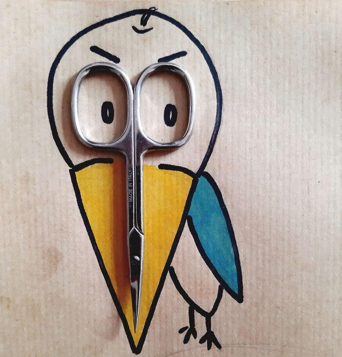 Пражский художник создаёт забавные иллюстрации с помощью повседневных предметов