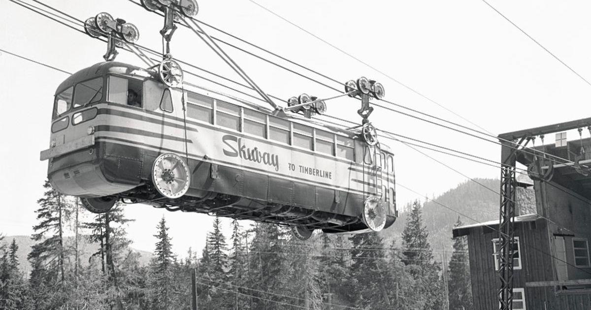 Трамвай-подъемник на горнолыжном курорте из 50-х годов