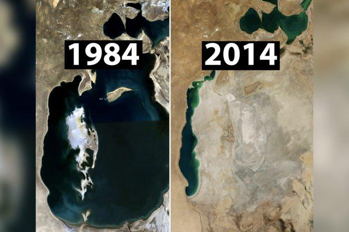 Куда исчезло Аральское море — большой водоем на границе Казахстана?