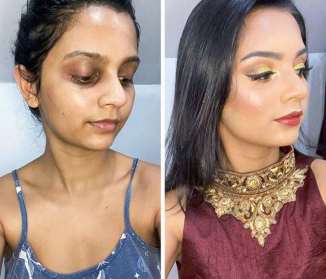 Сила и магия макияжа на сравнительных снимках