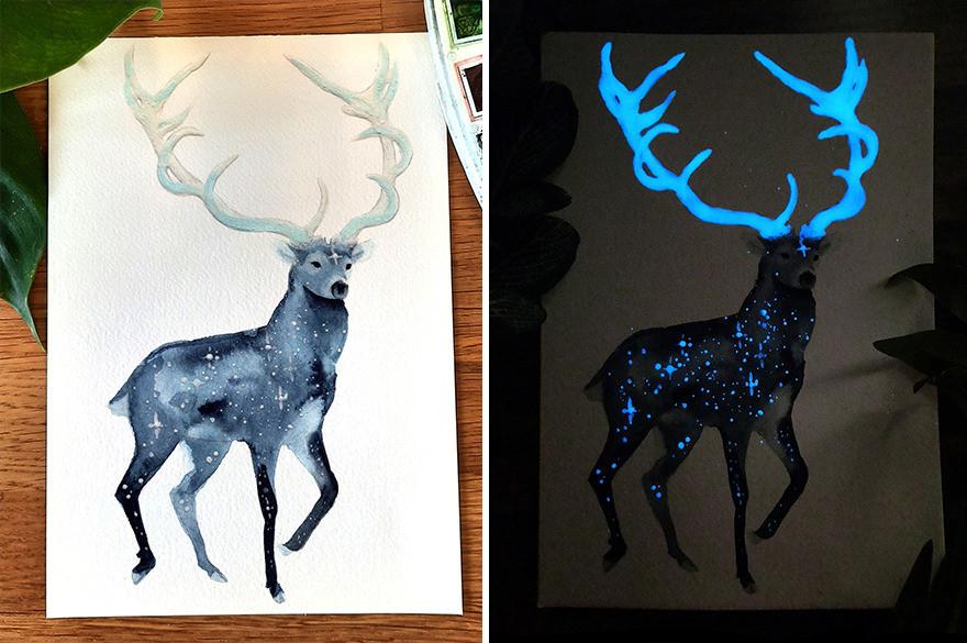 Светящиеся животные в акварельных рисунках Threeleaves