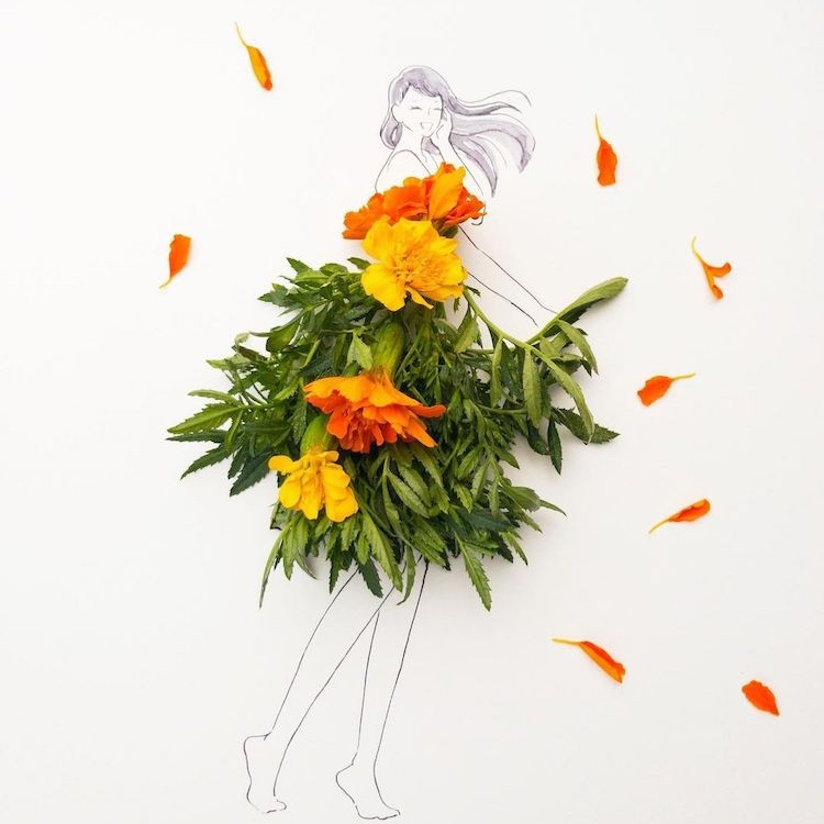 Изящные модные иллюстрации из цветочных лепестков и листьев