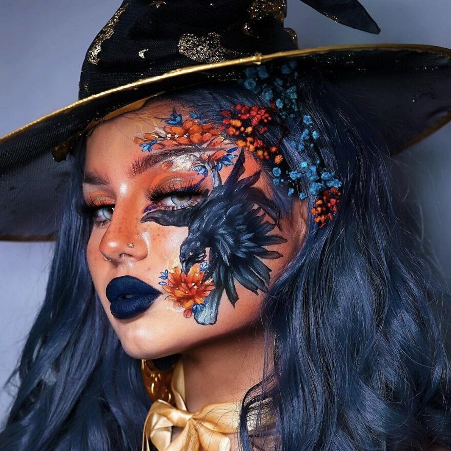 Визажистка с помощью макияжа превратила своё лицо в холст