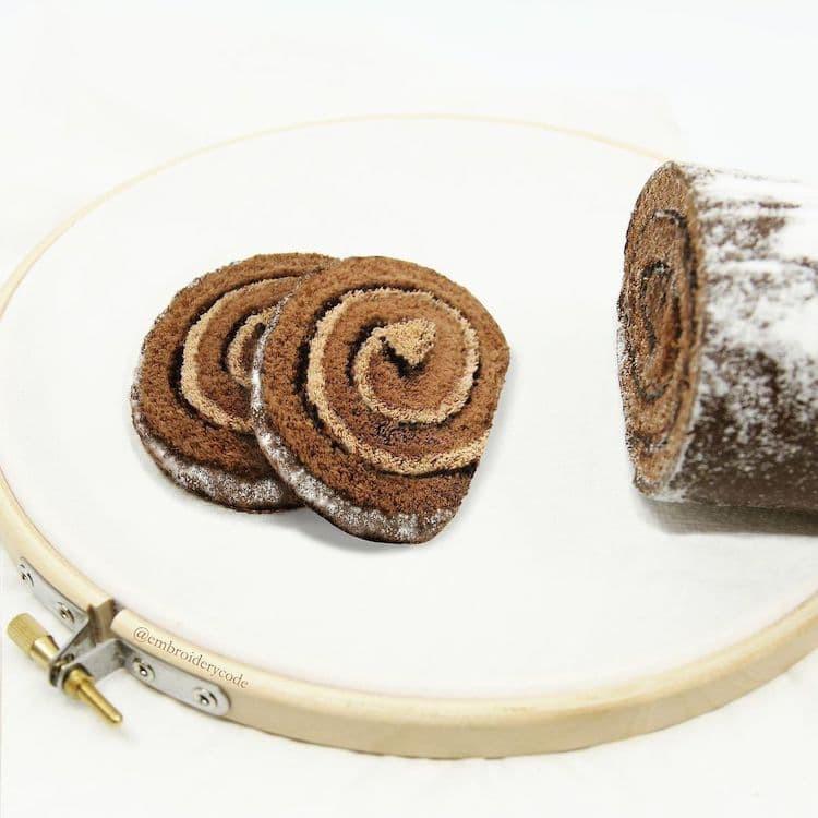 Гиперреалистичные трёхмерные вышивки, вдохновлённые едой