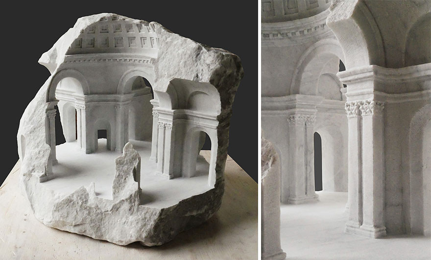Миниатюрные архитектурные пространства из мрамора и камня
