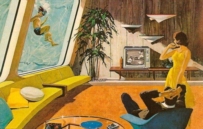 Футуристичные дома и техника будущего в рекламе 60-х годов