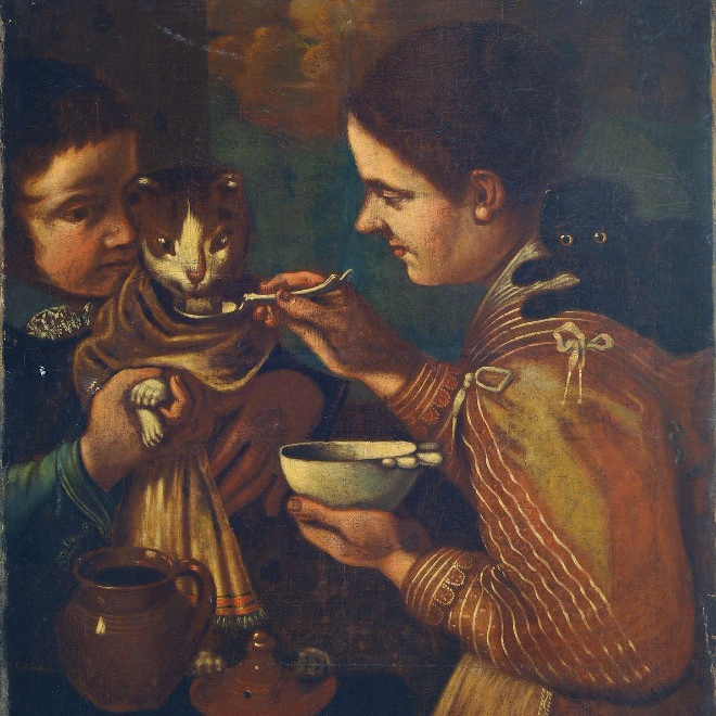 Люди эпохи Возрождения кормили котов с ложечки