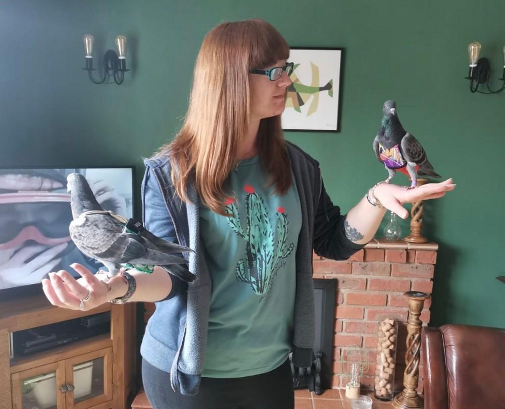 Девушка потратила кучу денег на наряды для голубей
