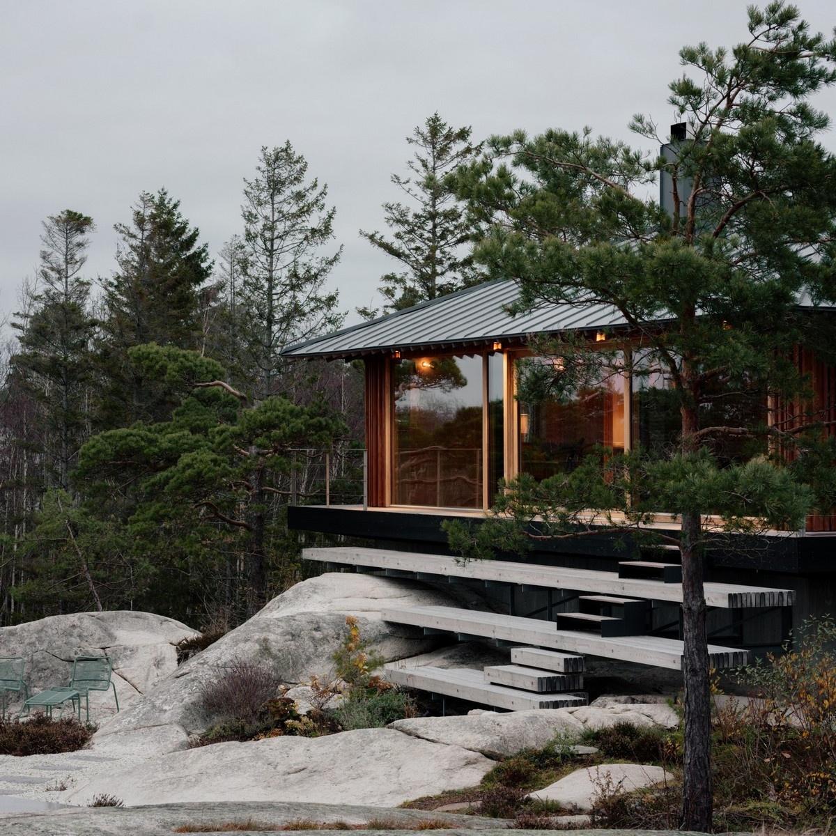 Дом выходного дня на берегу залива в Норвегии
