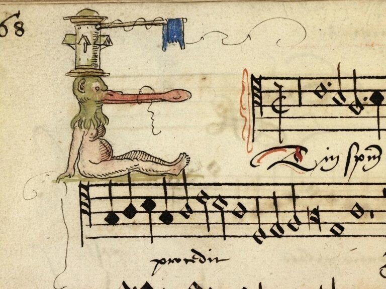 Забавные иллюстрированные буквы из песенника XVI века